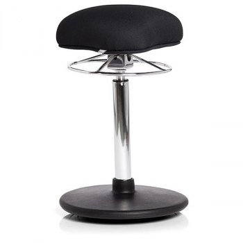 balansestol svart, hev senk stol, kontorstol, krom understell, stå stol, lav høyde, justerbar