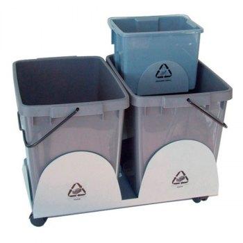 EcoOffice kildesorteringsvogn-2x25 og 1x6 liter