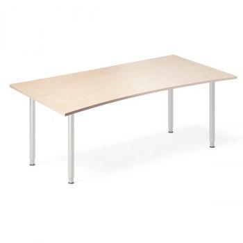 InOffice manuelt hev/senk skrivebord, bjørk, stor bue