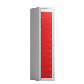 Tøyutleveringsskap, 11 rom i høyden-400 mm (1x400 mm = 11 rom)-Rød, RAL 3020