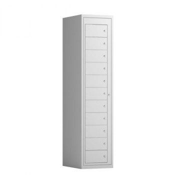 Tøyutleveringsskap, 11 rom i høyden-400 mm (1x400 mm = 11 rom)-Lys grå, RAL 7035