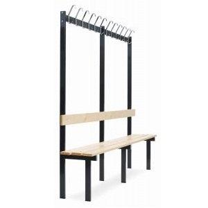Ensidig sittebenk med knaggrekke og lakkerte furubord-2000x380x1800 mm (inkl. 12 kroker)