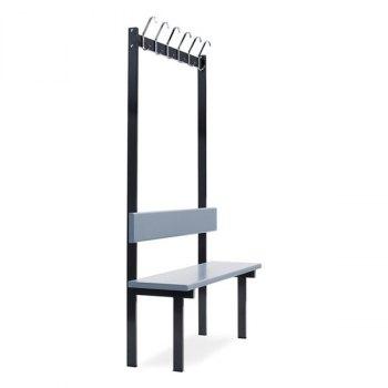 Ensidig garderobe- og sittebenk med stål knaggrekke inkl. 6 stk doble skolekroker og grå laminatbord i rygg og sitteflate. Bredde 1100mm