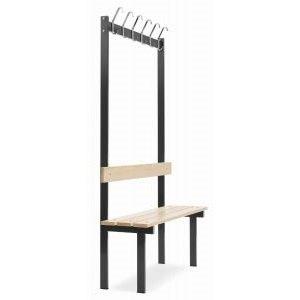Ensidig sittebenk med knaggrekke og lakkerte furubord-1100x380x1800 mm (inkl. 6 kroker)