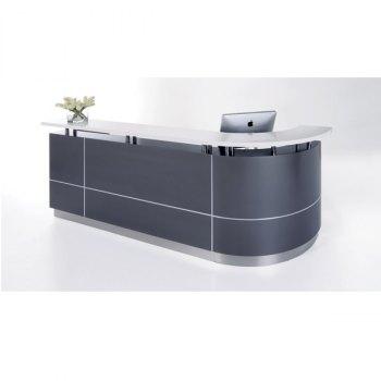 Greenline resepsjonsskranke med hjørneløsning, antrasitt grå og hvit farge, bredde 2750 mm og marmor topplate