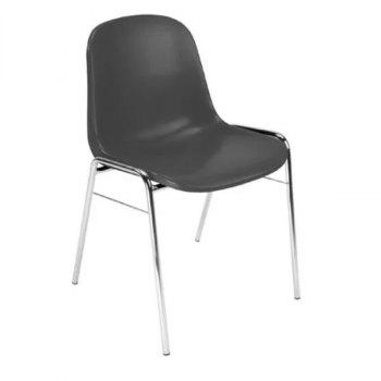 One Beta stabelbar plaststol i grå hardplast utførelse og med krom bein som understell
